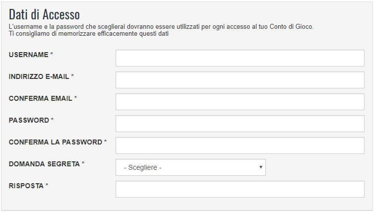 iscrizione snai dati di accesso