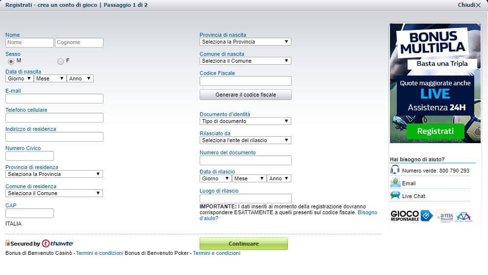 William Hill | Bonus Benvenuto -> 50%  fino a 100€ con codice coupon