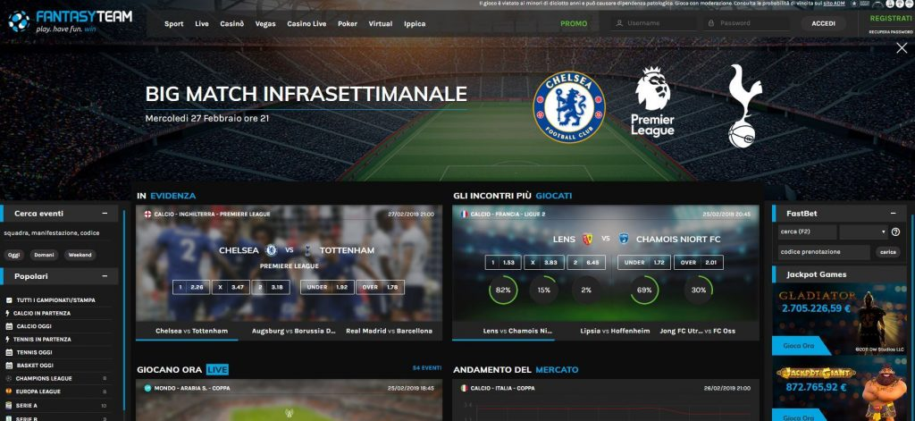 FantasyTeam Bonus Benvenuto Scommesse Sportive - 2019